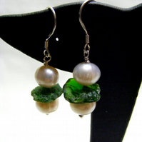 Cultured Pearl and Precious Emerald Earrings