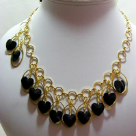 Gold and Black Heart Jewellery Set