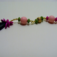 Black, Pink and Green Bag Charm