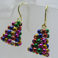 Colourful Christmas Tree Earrings