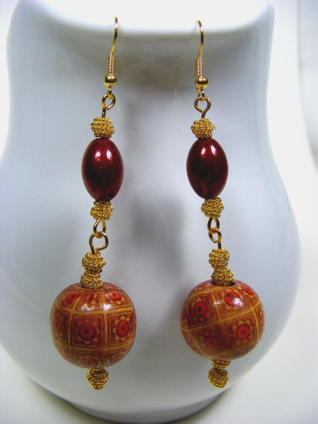 Red and Brown Dangling Earrings
