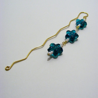 Blue Acrylic Flower Bookmark