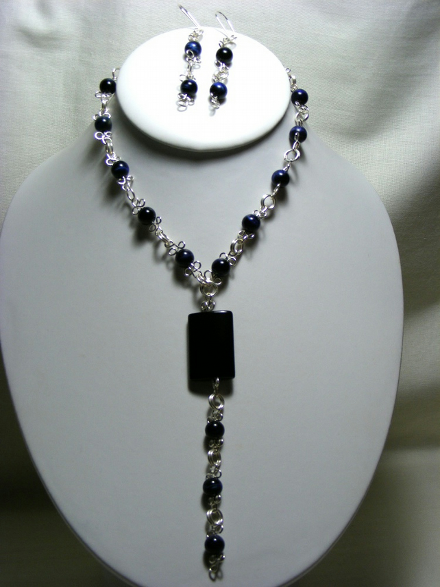 Blue Tigers Eye Jewellery Set