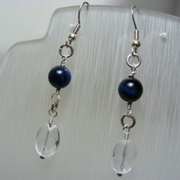 Blue Tigers Eye and Clear Quartz Earrings