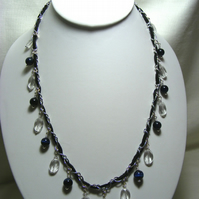 Blue Tigers Eye and Clear Quartz Necklace