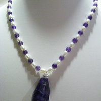 Amethyst and Freshwater cultured Pearl Necklace