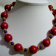 Chunky Red Wooden Necklace