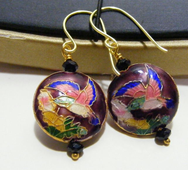Plum Cloisonne and Agate Earrings
