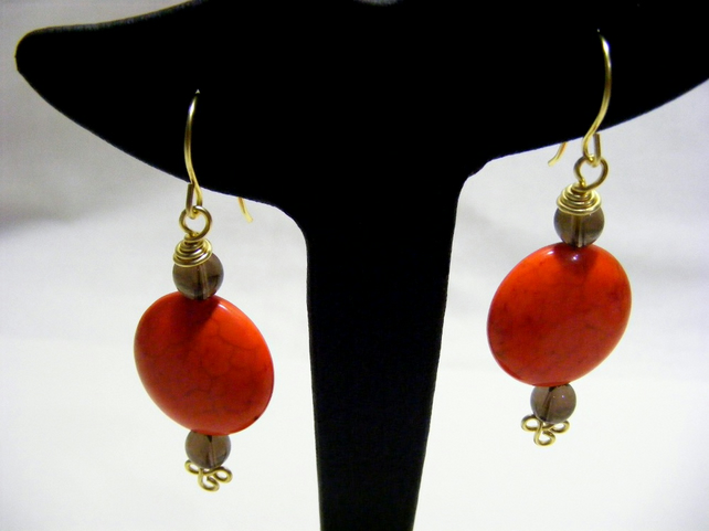 Orange Magnesite and Smokey Quartz Earrings