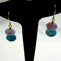 Turquoise and Lilac Agate Earrings.