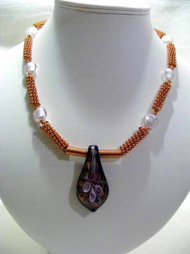 Pink and copper Pendant Necklace