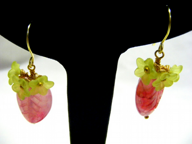 Pink and Green Flower and Leaf Earrings