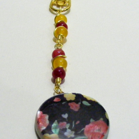 Red and Yellow Jade and Mother of Pearl Flower Coin Bag or Key Charm