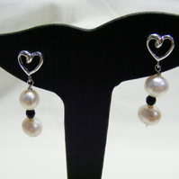 White Freshwater Cultured Pearl, Black Agate and 925 Sterling Silver Earrings