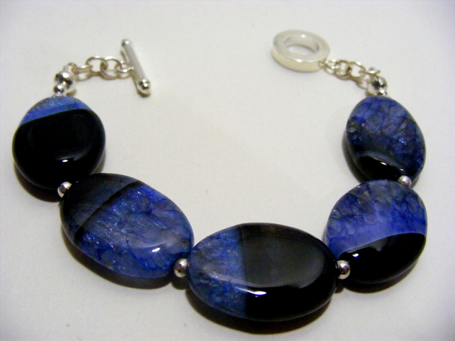 Black Agate with Blue Quartz Bracelet.