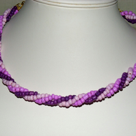 Pinks and Purples Twisted Necklace