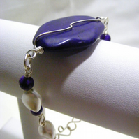 Purple Magnesite and White Sea Shell Bracelet