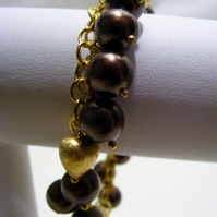 Chocolate and Gold Charm Bracelet