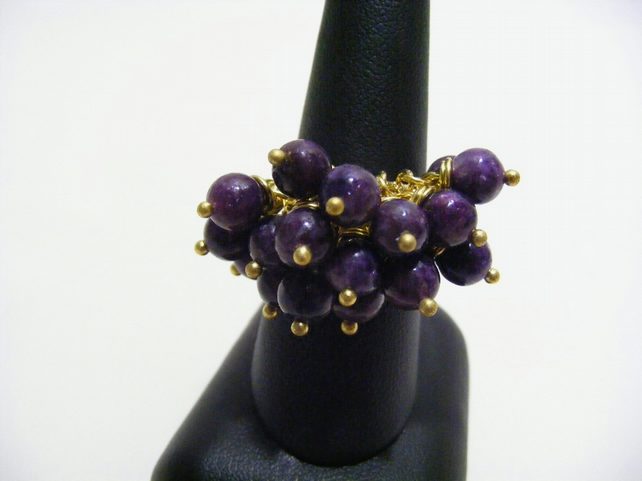 Lepidolite Gold Plated Ring