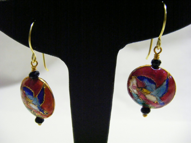Red Cloisonne and Agate Earrings