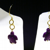 Purple Magnesite Turtle Earrings