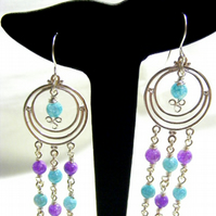Blue and Purple Crackled Quartz Chandelier Earrings