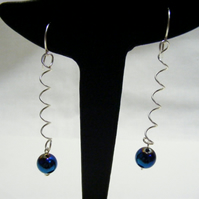 Blue Hematite Springy Earrings