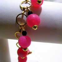 Fuchsia Frosted Agate Charm Bracelet