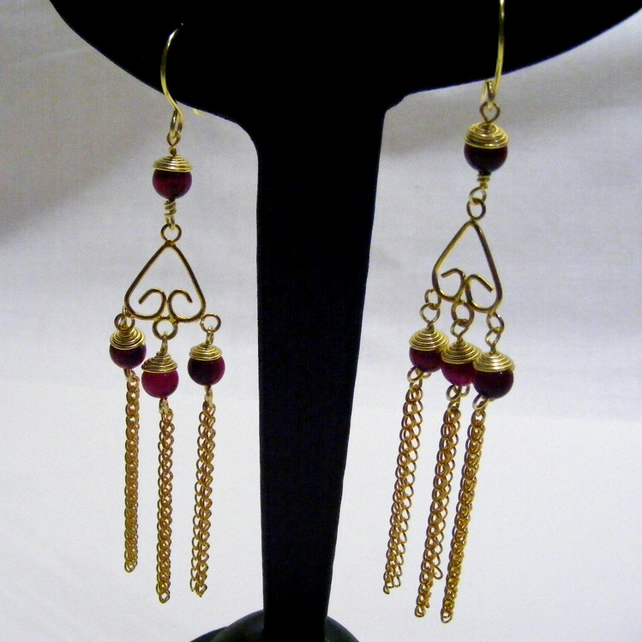 Pink Tigers Eye Earrings