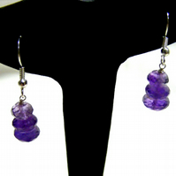 Amethyst and Silver Plated Earrings