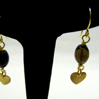 Smokey Quartz with Heart Charm Earrings