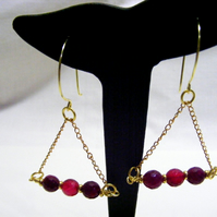 Fuchsia Stripe Agate Triangular Earrings