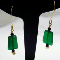 Green and Black Agate Earrings