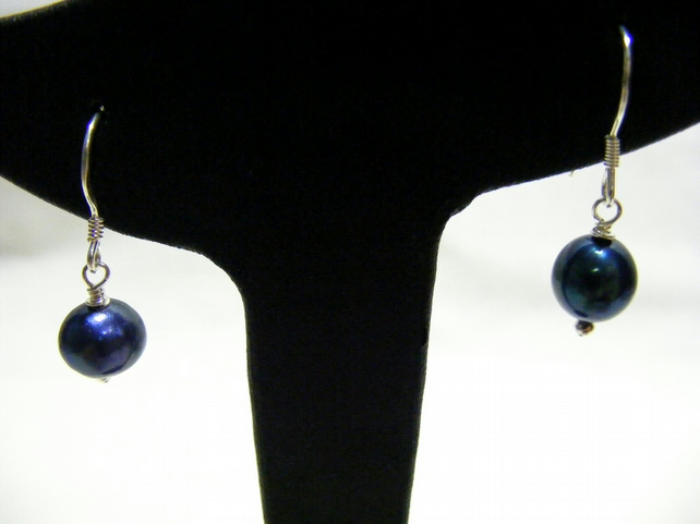 Dark Blue Freshwater Cultured Pearl and Sterling Silver Earrings