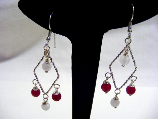 Red and White Quartz Earrings