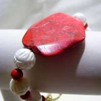 Red Magnesite and White Carved Shell Bracelet