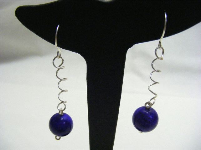 Purple Magnesite Spring Earrings