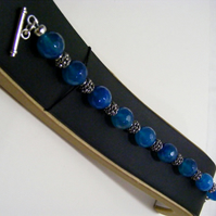 Blue Agate and Tibetan Silver Bracelet