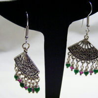 Green Quartzite and Swarovski Crystal Chandelier Earrings.
