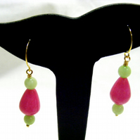 Pink and Green Quartzite Earrings