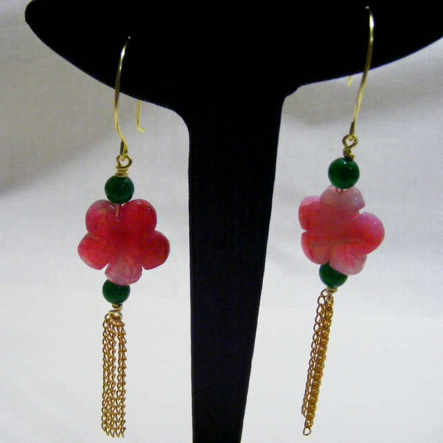 Pink Agate Flower Earrings