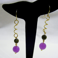 Violet and Olive Jade Earrings