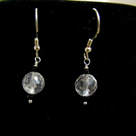 Quartz and Black Spinel Gemstone Earrings