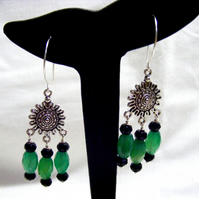 Black and Green Agate gemstone chandelier Earrings