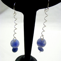 Blue Lace Jasper  Coil Gemstone Earrings.