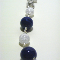 Blue Agate and Crackled Quartz Bag Charm.