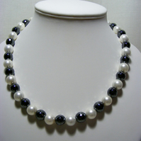White Shell and Natural Hematite Jewellery Set.