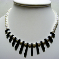 Black Agate and Freshwater Cultured Pearl Gemstone Necklace,