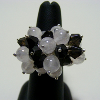 Mystic Rose Quartz and Smokey Quartz Adjustable Gemstone Ring.