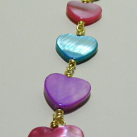 Pink, Lilac and Blue Shell Heart Bag Charm.